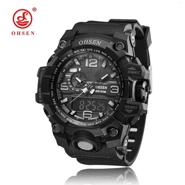 OHSEN Marca de relógios Horas Relógio Digital Relógio dos homens de Quartzo relojes pará hombre Relogio masculino Militar relógios de Pulso Do Esporte Dos Homens Casuais
