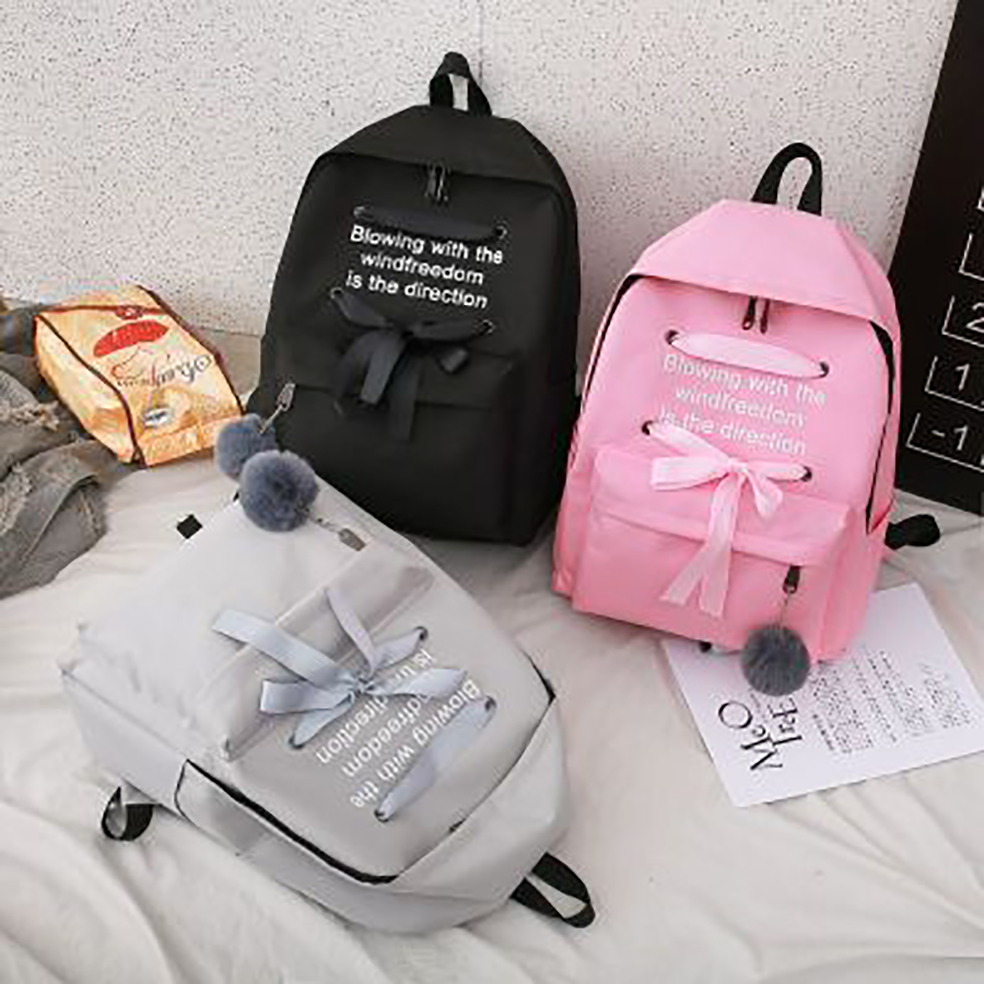 Casual Bow Letter Print Backpacks For Women Campus Student Girls Schoolbag Large Capacity Harajuku Ladies Travel Back Pack New