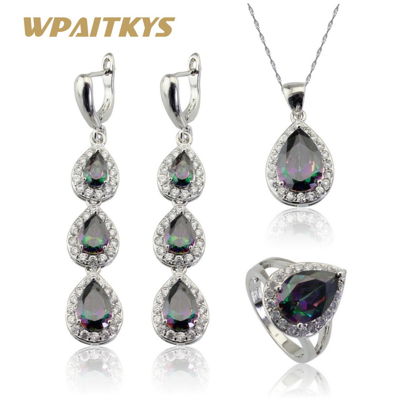 Water Drop Multicolor Rainbow White Topaz 925 Silver Jewelry Sets For Women Long Earrings Necklace Pendant