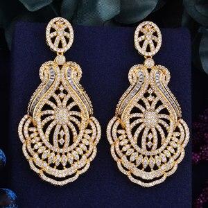 Image 4 - GODKI 65mm luxe populaire fleur feuille plein Mirco réglage cubique zircone Naija mariage boucle doreille bijoux de mode pour les femmes