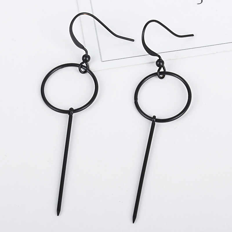 Long Stick Small Hoop Circle Golden Silver Black Metallic Dangle Earrings Drop Earrings for Women