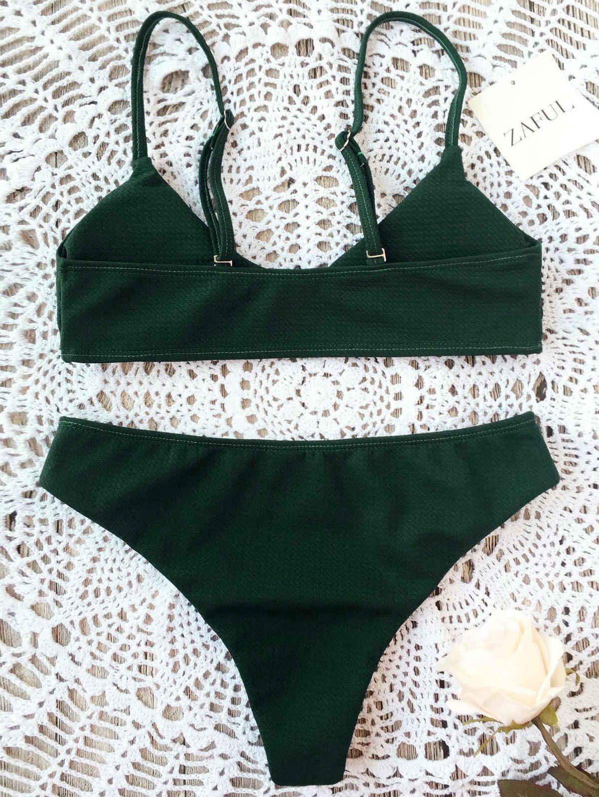 New arrival kobiety sexy pasek niskiej talii 2 sztuk zestaw Bikini push-up wyściełana brazylijski trójkąt strój kąpielowy stroje kąpielowe kostiumy kąpielowe