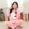 Winter thick coral velvet pajamas female cute lady warm flannel long-sleeved tracksuit Korean version of  Coral velvet pajamas