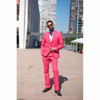 2017 Hot Pink Men Suits Blazer With Pants Fashion Big Lapel Slime Fit Groomsmen Topic Wedding Party Tuxedos (Jacket+Pants)
