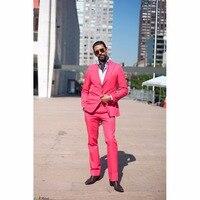 2017 Pink Männer Anzüge Blazer Mit Hosen Mode Großen Revers Schleim Fit Groomsmen Thema Hochzeit Smoking (jacke + Pants)