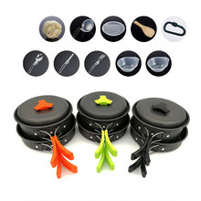 VILEAD Outdoor Portable Non-stick Pan Camping Set Pot 1-2 People Aluminum Wild Donkey Walking with Tableware