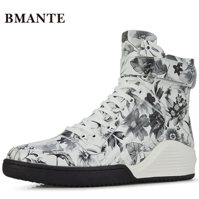 Real leather brand print booties White brand fashion male Casual hightop shoe Footwear high top tide