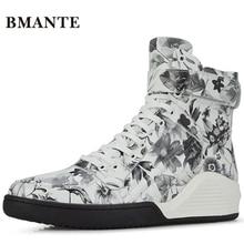 Брендовые ботинки из натуральной кожи с принтом; белые брендовые Модные мужские повседневные ботинки с высоким берцем; высокие ботинки в стиле хип-хоп для мужчин; теннисные ботинки