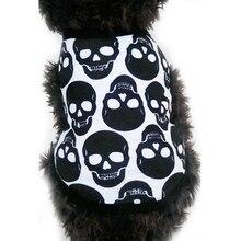 Череп рисунок комнатная собачка жилет дышащая одежда для собак и щенков собаки Рубашки Щенок боди для чихуахуа Хэллоуин Costumeroupas para cachorros