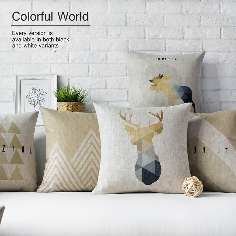 Nordic Decoration Home Decorative pillows case Deer Geometric cushion Cover Home Decor Throw pillow covers Linen Pillowcase