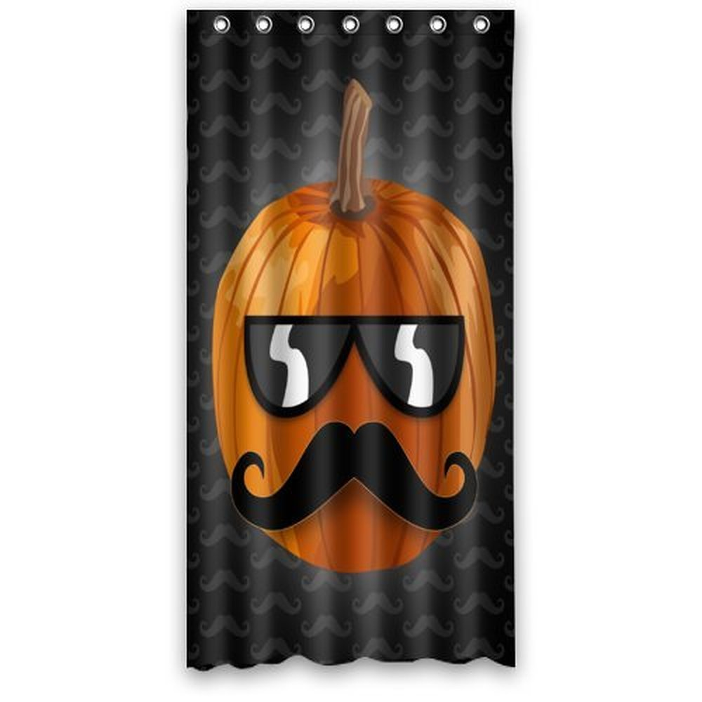 36wX72h Inches Funny Halloween Pumpkin With Mustache And Sunglasses Polyester Waterproof Fabric Shower Curtain SRings Included