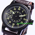 Corgeut 45mm PVD Case WristWatches Black Sterile Dial 6497 Movement Hand Winding Timepiece Leather Strap Watches