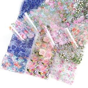 Image 5 - 10 個花箔セット混合デザインネイルアート転送ステッカー星空紙粘着花プリントネイルアートの装飾先端 CH787