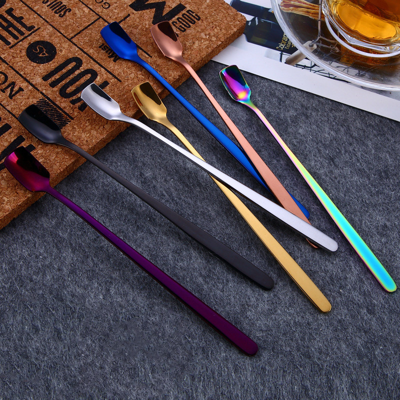 Rainbow Stainless Steel Ice Cream Spoons Long Handle Mug Drink Spoon Coffee Dessert Cocktail Stirring Scoops Tableware