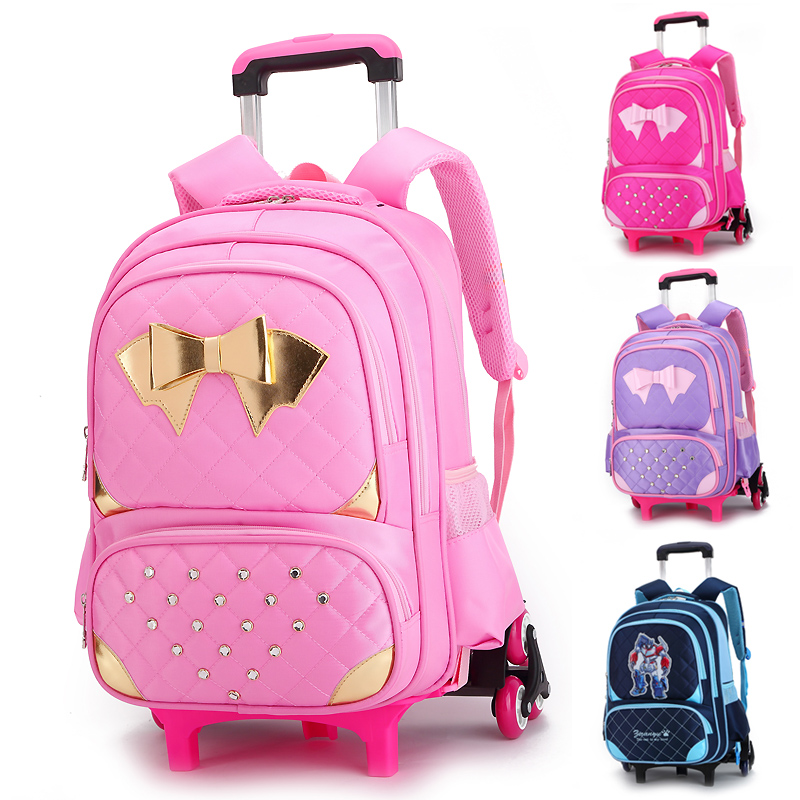 ФОТО Women Backpack Trolley Luggage Travel Bag Male and Female Travel Backpack with Wheels School Bags Boys Bagpack Bolsos