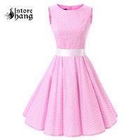 Women's 50s Rockabilly Vintage Dress Polka Dots Floral Sleeveless Skater Dress Audrey Hepburn Style Circle Swing Dress