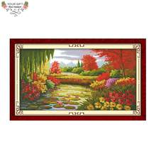 Your Gift F118 Free Shipping 14CT 11CT Counted and Stamped Home Decor Autumn Scene In Lotus Pond Embroidery Cross Stitch Kits(China)