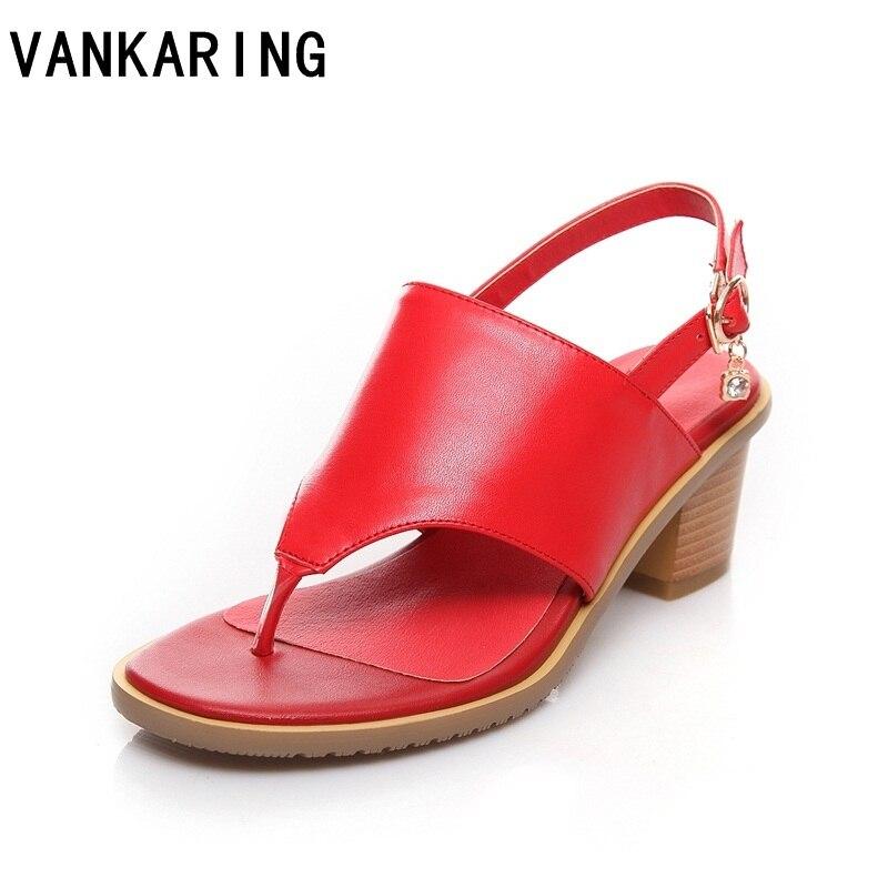 Vankared mode sandales 2018 femmes été boucle sangle solide plage pantoufle tongs sandales chaussures plate-forme sandales grande taille