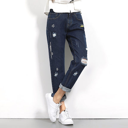 Button Zipper Fly Spring Summer Blue Ladies Pants 2017 Plus Size Hole Pocket Funny Printed Frayed Jeans