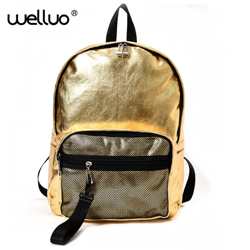 Couple Silver Glossy women Backpack For Teenage Girls Boys Holographic Laser Leather Book Bag Students School