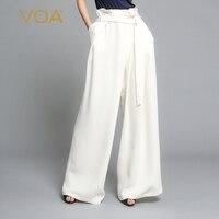 VOA белый Высокая талия плюс Размеры женские офисные одноцветное шелковые широкие брюки ноги Для женщин макси длинные брюки элегантный крат