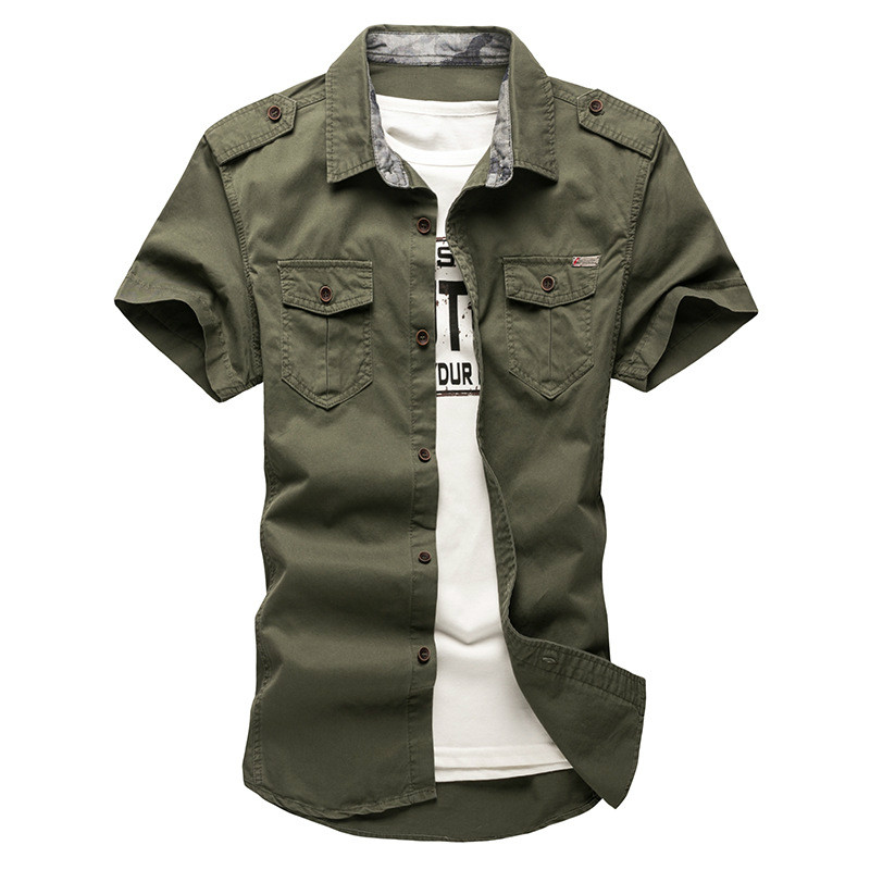 2018 New Men S Cargo Tactical Shirts 100 %Cotton Short Sleeve Work Brand Military Shirt Chemise Plus Size 5xl