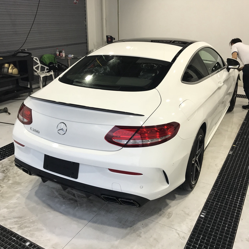Car FRP Spoiler For <font><b>Mercedes</b></font>-Benz C Class W205 C63 <font><b>COUPE</b></font> C200 <font><b>C300</b></font> 2016.2017.2018 Rear Wing Spoilers Auto Accessories image