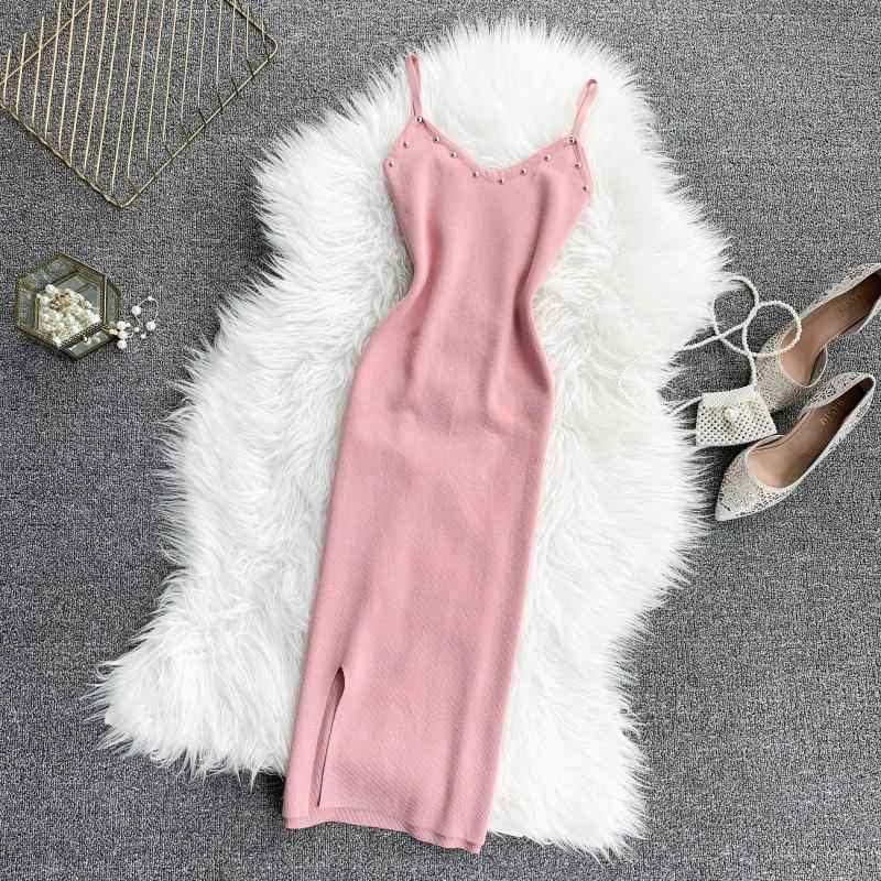 Евро-американский сексуальный v-образным вырезом, росы сзади ногтей бисером, тонкое тело, юбка и ягодицы уход машина, одношаговая юбка трикотажное платье 2019