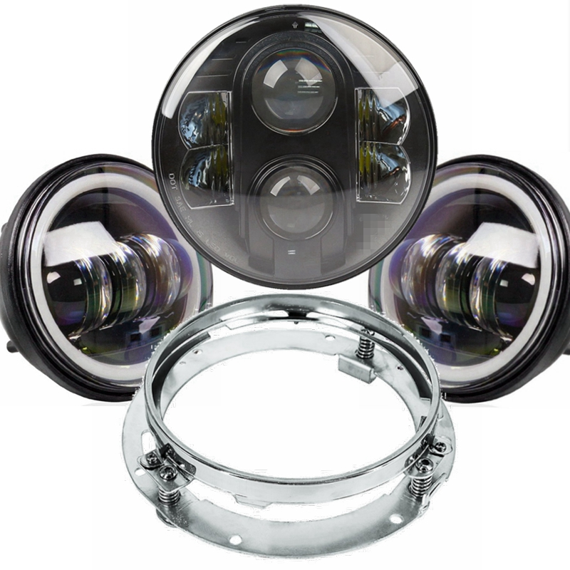 Angle Eye 4.5 Inch Auxiliary Passing Fog Light + 7 Inch 80w double Beam <font><b>Headlight</b></font> With Mounting Bracket Ring For Motorcycle Bike
