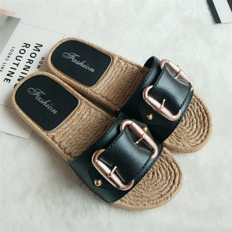 Fashion Flax Buckle Home Slippers Women Indoor Shoes Ladies Outdoor Mules Slippers Summer Beach Sandals Slides Zapatos Mujer 2