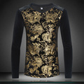 Высочайшее Качество Футболки Мужская Мода 2017 Весной Новый мужская Футболка повседневные с V-образным Вырезом Slim Fit С Длинным Рукавом Tee Shirt Homme Мужская Одежда