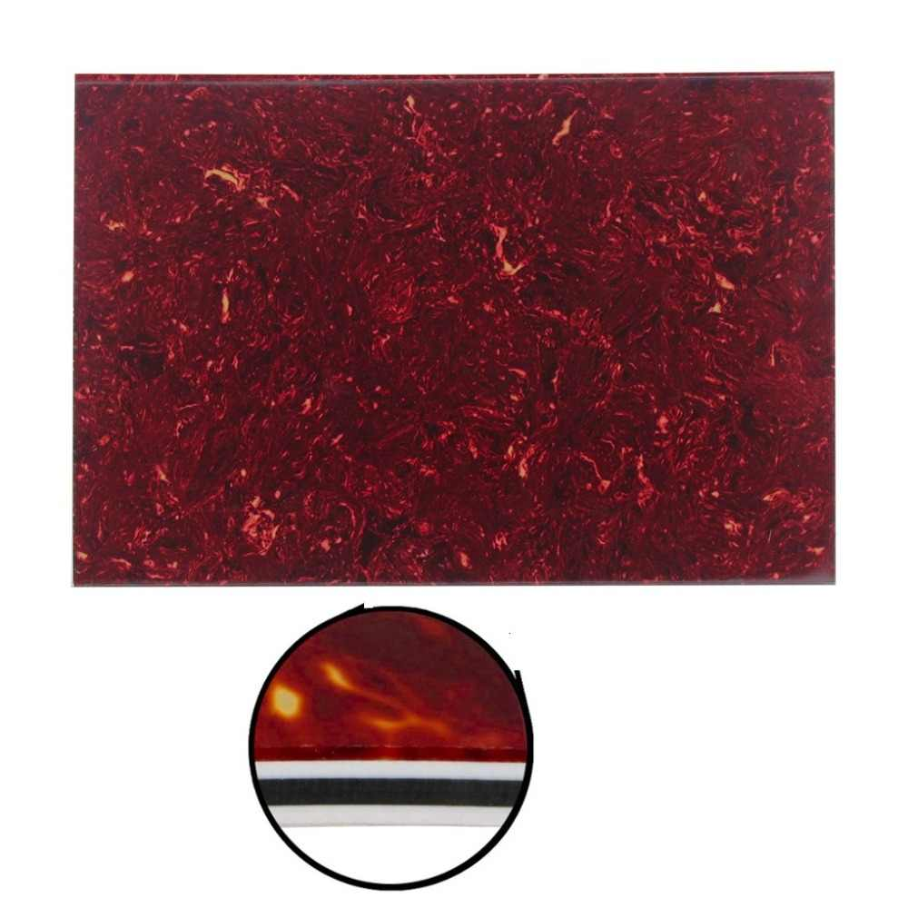 FLEOR Red Tortoise Shell 4Ply Guitar Pickguard Material Sheet Blank Scratch Plate 43x29x0.23cm for Electric Guitar Parts DIY