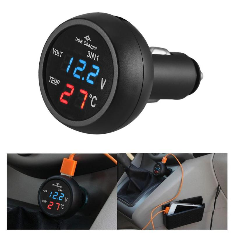 VODOOL 3 in 1 12/24V Car Auto LED Digital Voltmeter Gauge Thermometer Monitor Display USB Charging Charger For Phone Tablet GPSVODOOL 3 in 1 12/24V Car Auto LED Digital Voltmeter Gauge Thermometer Monitor Display USB Charging Charger For Phone Tablet GPS