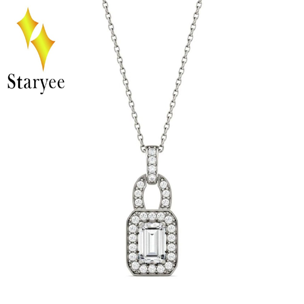 Moissanite Emerald Halo Link Chain Delicate Thin Genuine 18K White Gold Fashion Women Girl Necklace Pendant delicate rhinestone leaf link chain hair band for women