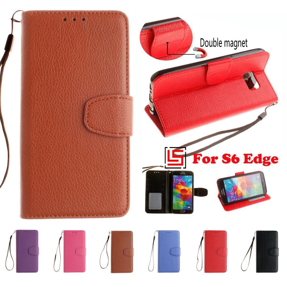 e34763ee2c035 PU Skórzane Etui Z Klapką Portfel Filp Telefon Komórkowy Case capinha kryty  pokrywa Cove Dla Samsung Galaxi Samsun Samsug Galaxy S6 Krawędzi Czerwony