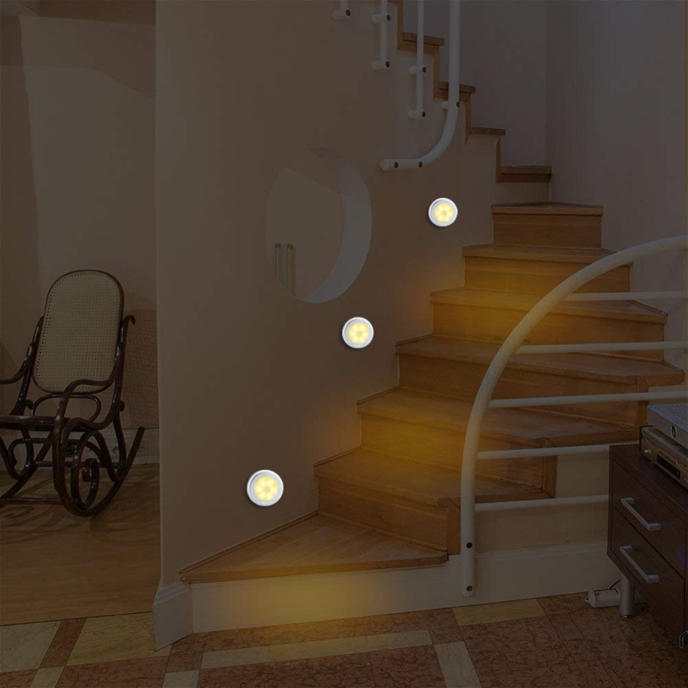 JXSFLYE Motion Sensor Light Cordless Battery Powered 6 LED Night Light Stick Anywhere Closet Lights Stair Lights 6 PACKS in Under Cabinet Lights from Lights Lighting
