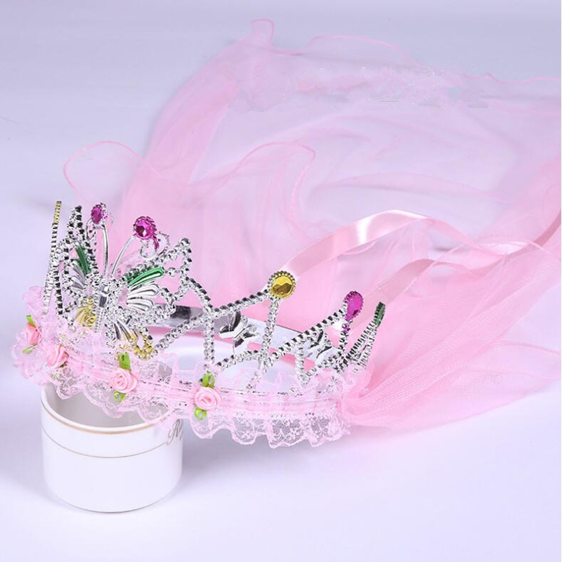 Children Girls Princess Butterfly Crown Headband Veil  Flower Girl  Band  Dress Decor Party Favor Christmas Halloween Navidad