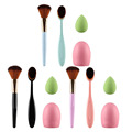 New 4Pcs/set Makeup Brush Set Pro Toothbrush Oval Makup Brush + Powder Foundation Face Brush +  Sponge Puff +  Brush Cleaner Kit