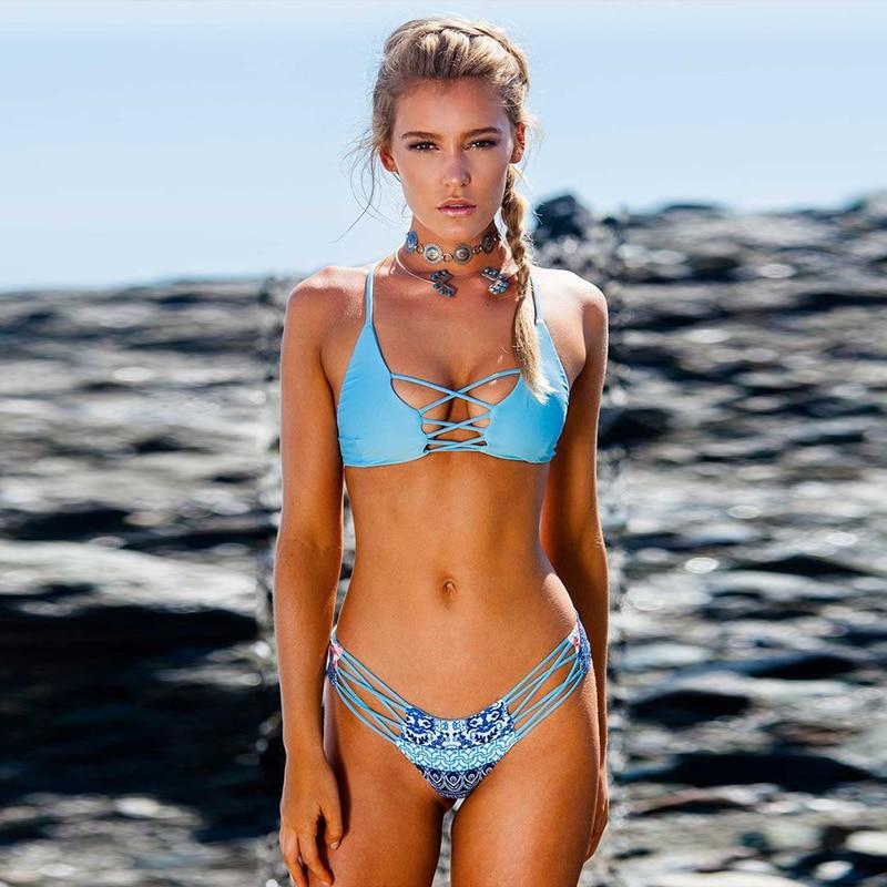 Push UP Swimsuits Sexy Low Waist 2019 Two-Piece Swimwear Thong Women Brazilian Bikinis Set Bandage Swimsuit Bathing Suit Curve