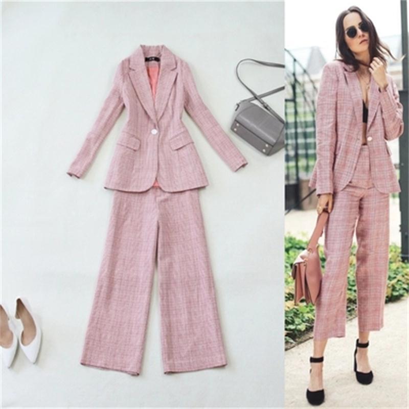 Pant Suits Women Autumn Big Code Pink Plaid Suit +9 Points Wide Leg Pants Wool Suit Women Office Lady Suits Women Outfits NEW
