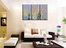 3 piece Knife paint landscape abstract modern  wall art handmade decorative living room wall painting oil on canvas for bedroom
