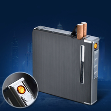 20 Cigarette Case Thin Metal Automatic Cigarette Box USB Rechargeable Windproof Lighters Cigarette Lighter Smoking Accessories mysterious egyptian glyphs metal cigarette case holds 18