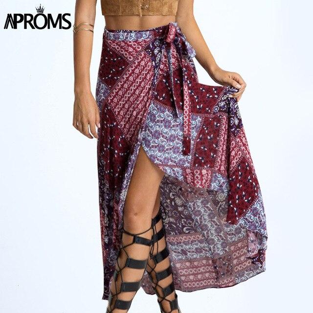 cda62af6488711 New 2017 Irregular Long Skirt Women Vintage Wine Red Floral Print Side Slit  Wrap Maxi Skirt