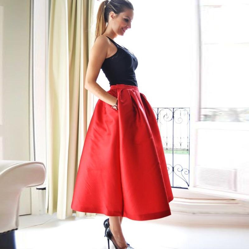 Alta Hermoso 2016 Línea Encargo Faldas Mujeres Bolsillos Por Té Longitud Con Satén Largo Una Calidad Rojo 0q0Af
