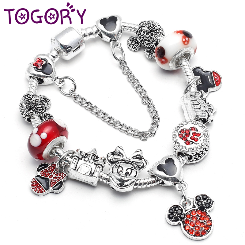 TOGORY New Fashion Mickey Beads Charm Bracelets & Bangles Cartoon Pendant Brand Bracelets For Women Jewelry Fit Diy Gift пандора браслет с шармами