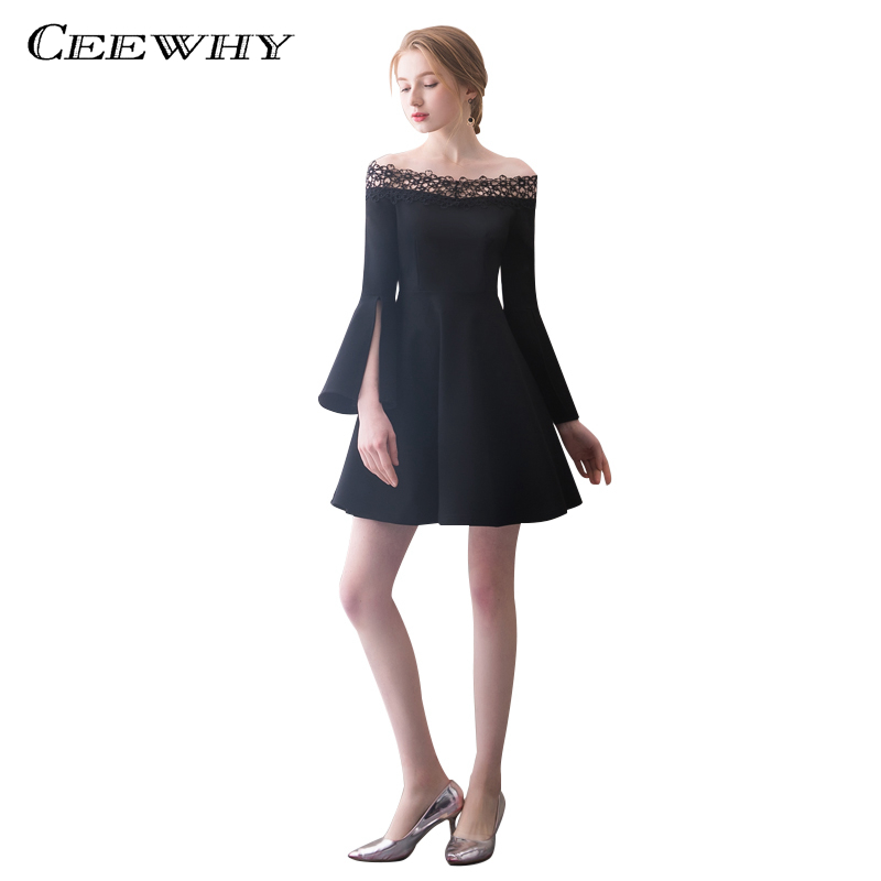 Ceewhy Boat Neck White Black Formal Party Dress Long Sleeve Cocktail
