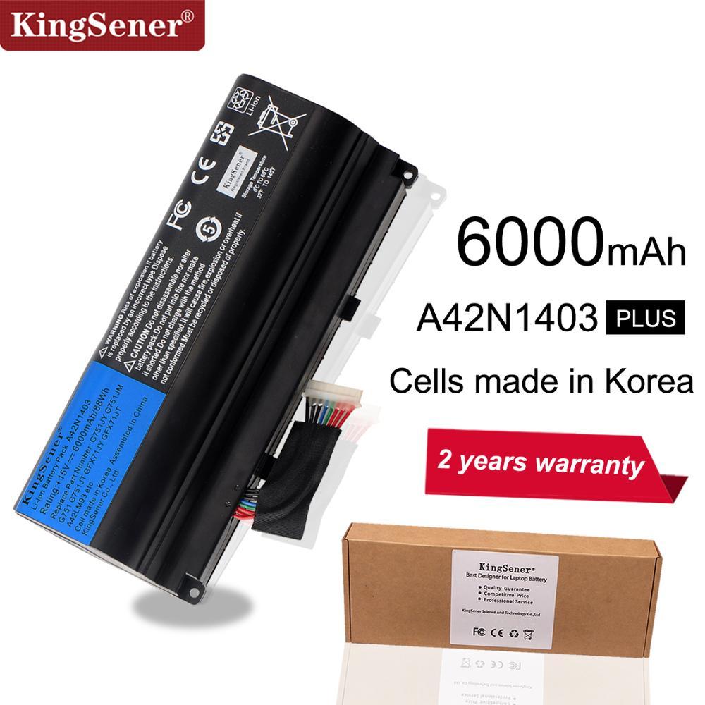 KingSener 15V 6000mAh Korea Cell A42N1403 Battery For ASUS ROG G751 G751JY G751JM G751JT GFX71 GFX71JY GFX71JT A42LM9H A42LM93