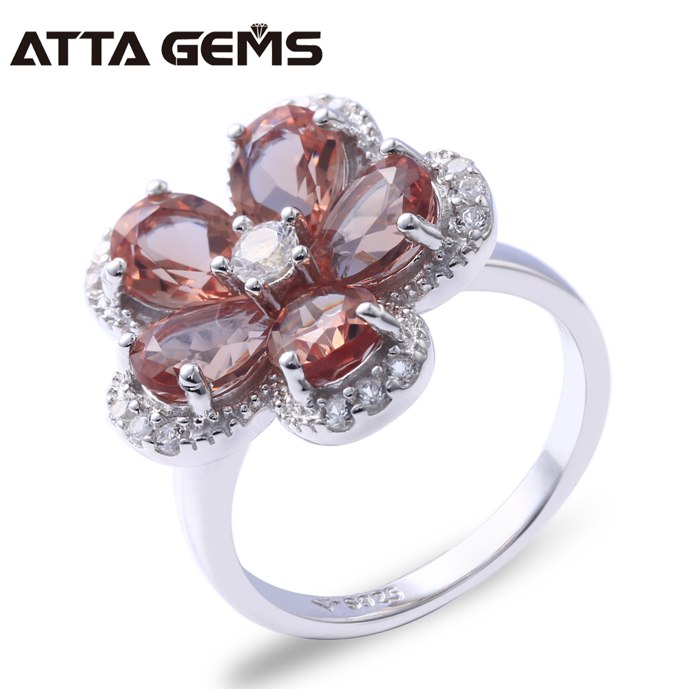 Diaspore Sterling Silver Rings For Women Flower Design Romantic Style 5.6 Carats Created Diaspore Color Change Stone