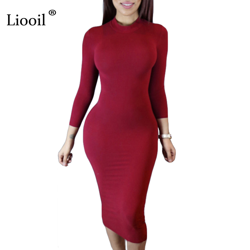 Liooil 2019 Spring Dress Turtleneck Long Sleeve Black Wine Red Midi Bodycon Dresses Fashion Winter Plus Size Clothing For Women
