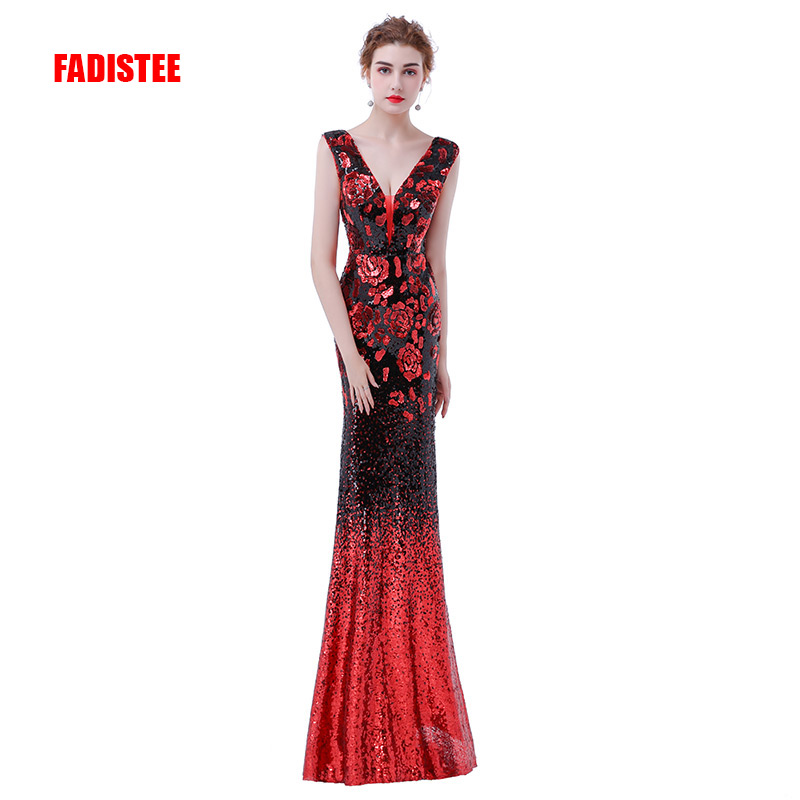 FADISTEE elegant party dress Prom Dresses Long dress Vestido de Festa mermaid sequined long sexy backless evening formal gown-in Prom Dresses from Weddings & Events    1